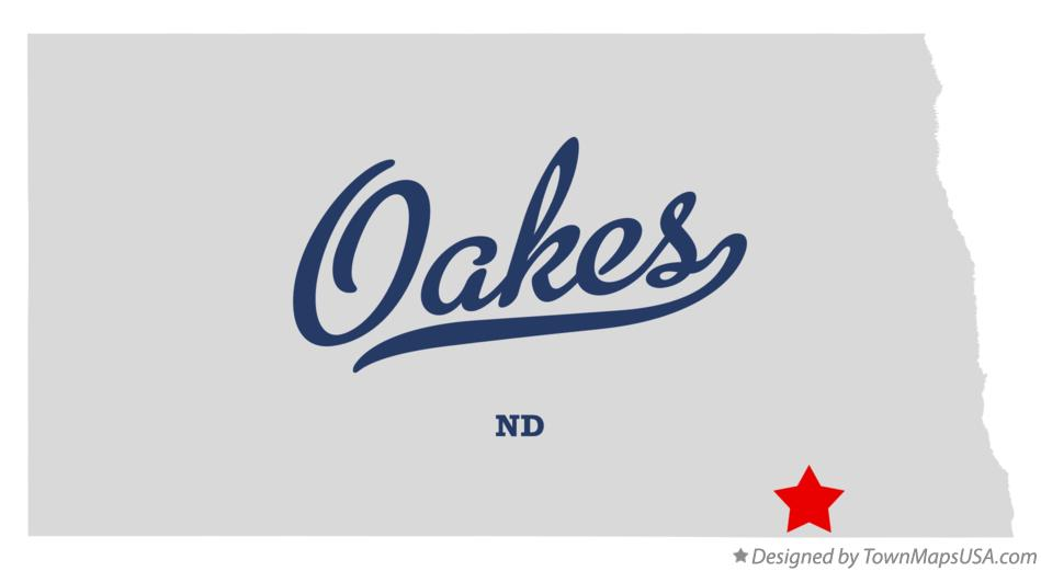 Map of Oakes North Dakota ND