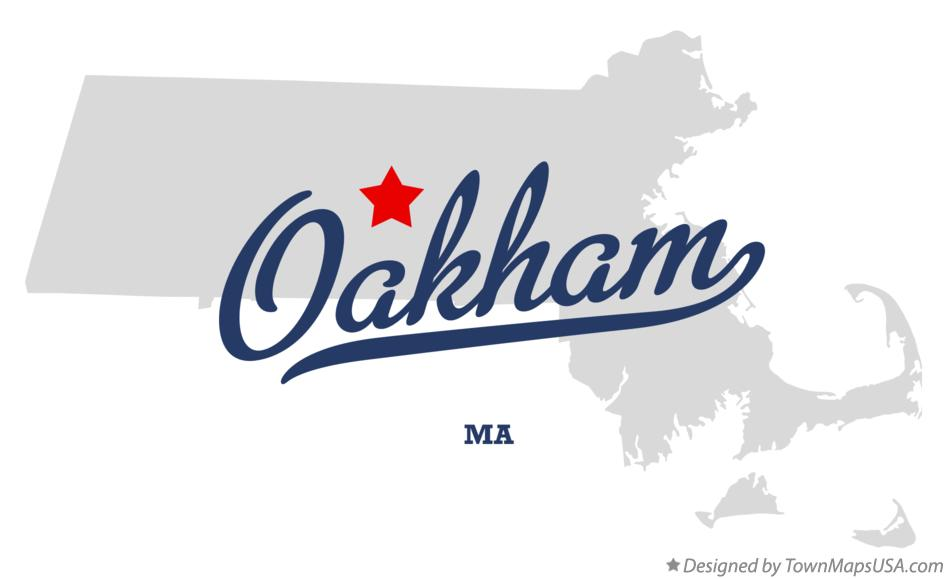 Map of Oakham Massachusetts MA