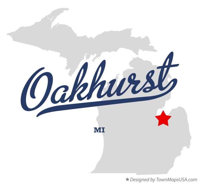 Map of Oakhurst Michigan MI