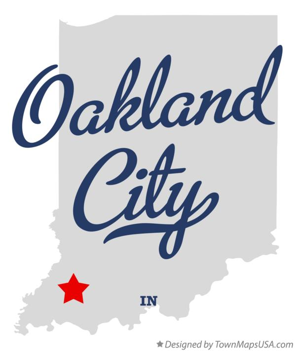 Map of Oakland City Indiana IN