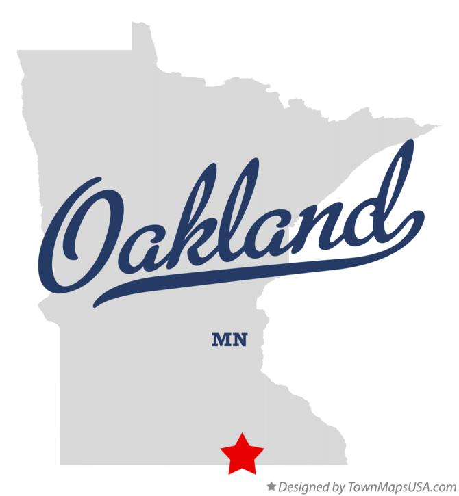 Map of Oakland Minnesota MN