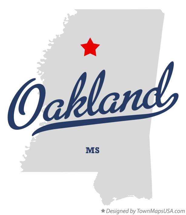 Map of Oakland Mississippi MS