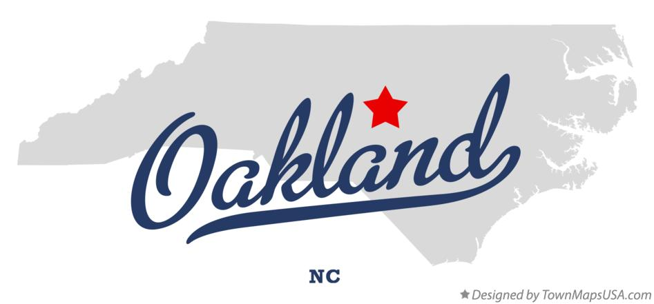 Map of Oakland North Carolina NC
