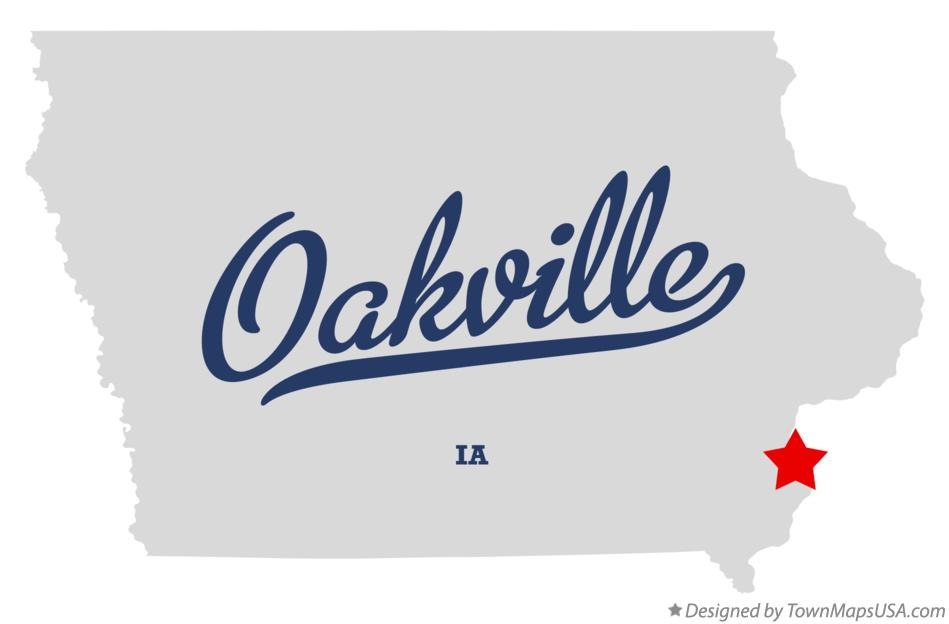 Map of Oakville Iowa IA