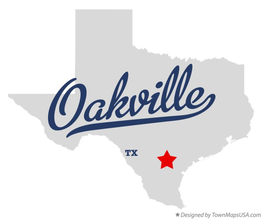 Map of Oakville Texas TX