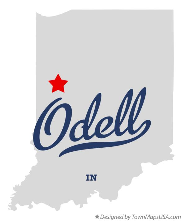 Map of Odell Indiana IN
