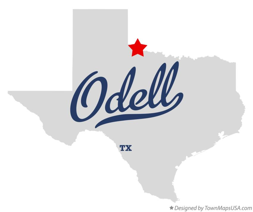 Map of Odell Texas TX
