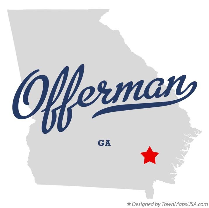 Map of Offerman Georgia GA