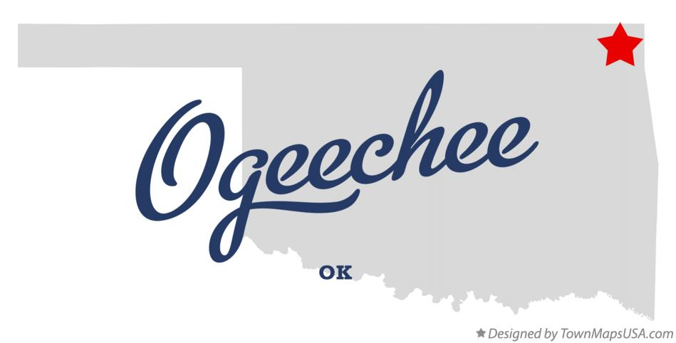 Map of Ogeechee Oklahoma OK