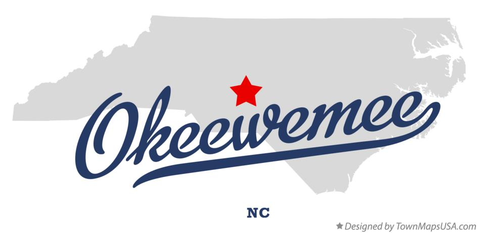 Map of Okeewemee North Carolina NC