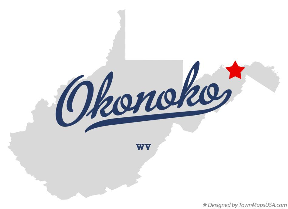 Map of Okonoko West Virginia WV