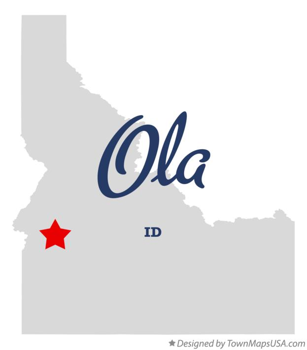 Map of Ola Idaho ID