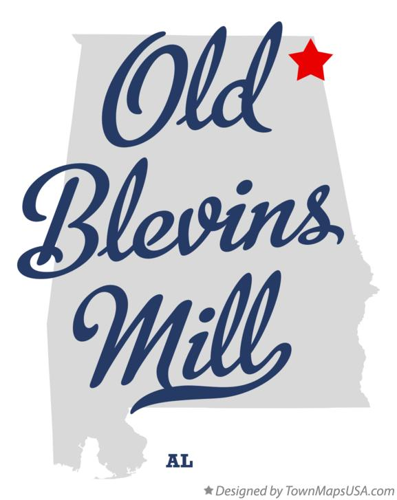 Map of Old Blevins Mill Alabama AL