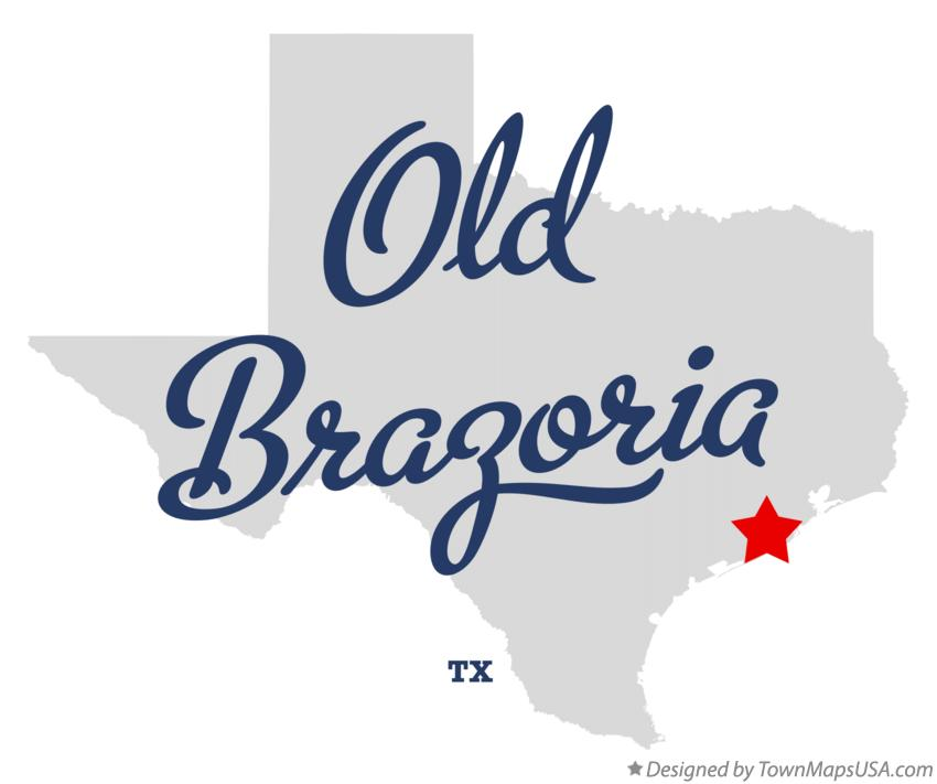 Map of Old Brazoria Texas TX