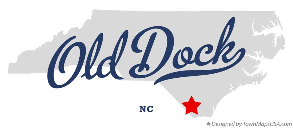 Map of Old Dock North Carolina NC