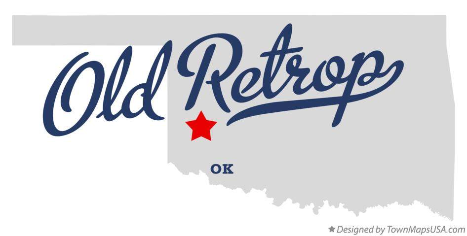 Map of Old Retrop Oklahoma OK