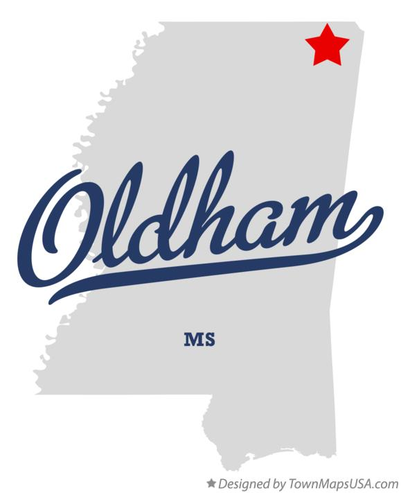 Map of Oldham Mississippi MS