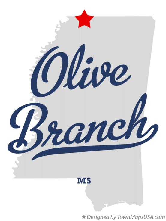 Map of Olive Branch MS Mississippi