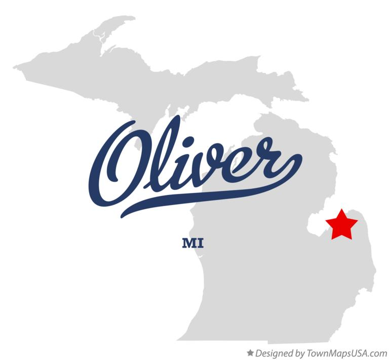 Map of Oliver Michigan MI