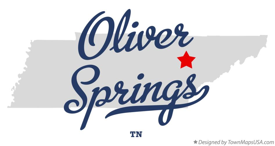 Map of Oliver Springs Tennessee TN