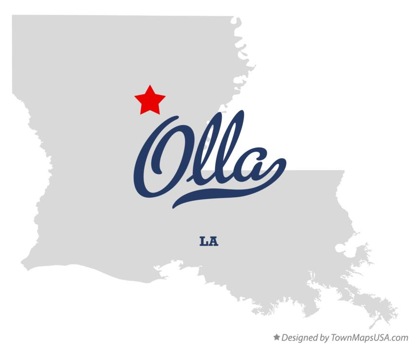 Map of Olla Louisiana LA