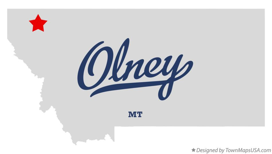 Map of Olney Montana MT