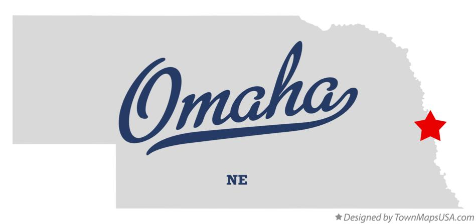 Map of Omaha Douglas County NE Nebraska