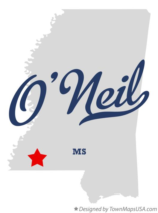 Map of O'Neil Mississippi MS