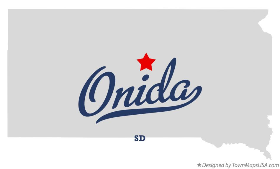 Map of Onida South Dakota SD