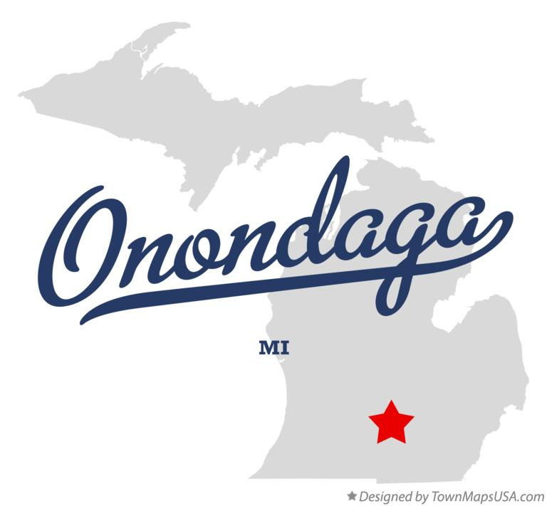 Map of Onondaga Michigan MI