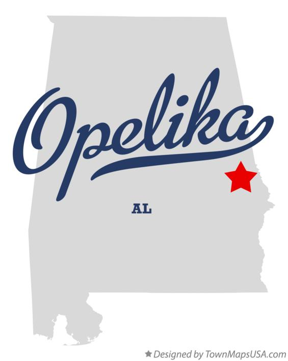 Map of Opelika Alabama AL