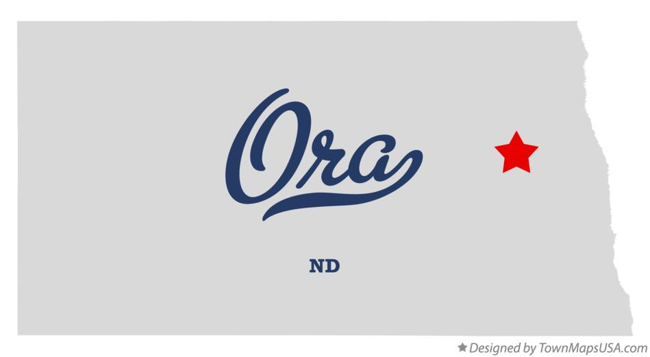 Map of Ora North Dakota ND