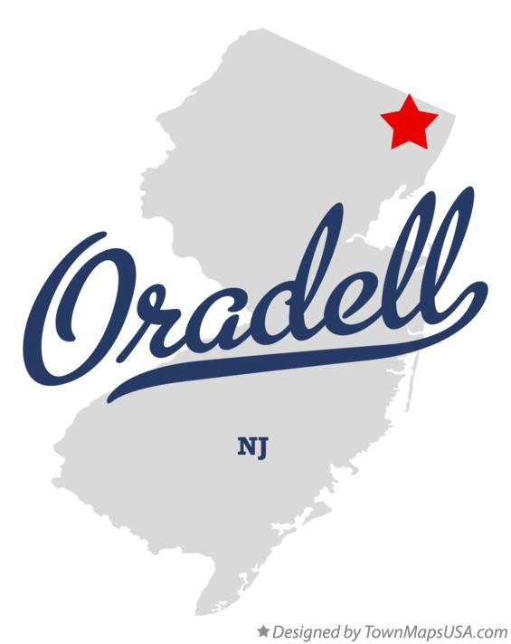 Map of Oradell New Jersey NJ