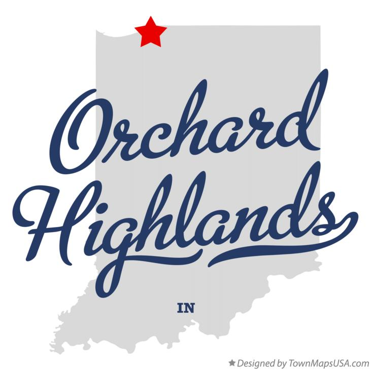 Map of Orchard Highlands Indiana IN