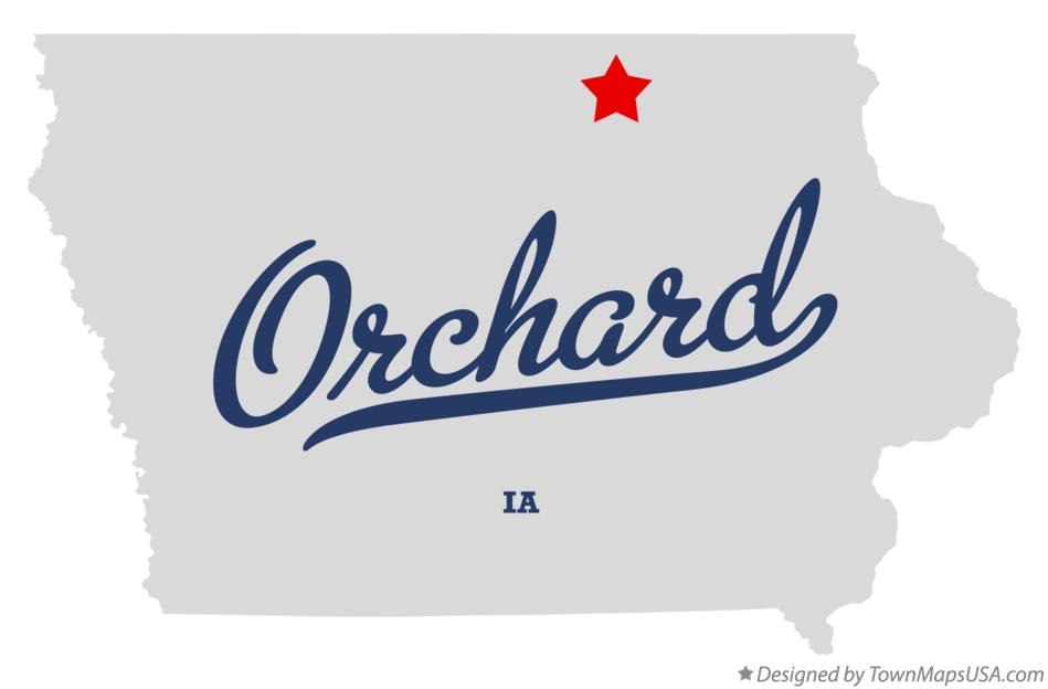 Map of Orchard Iowa IA