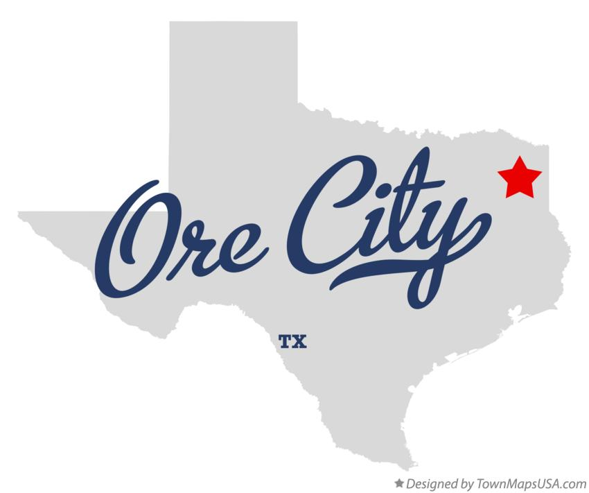 Map of Ore City Texas TX