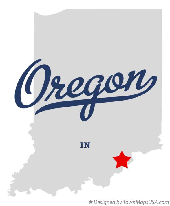 Map of Oregon Indiana IN