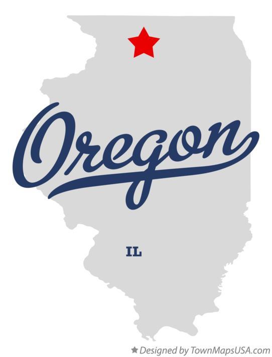 Map of Oregon IL Illinois