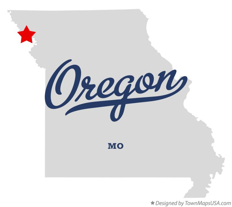 Map of Oregon Missouri MO