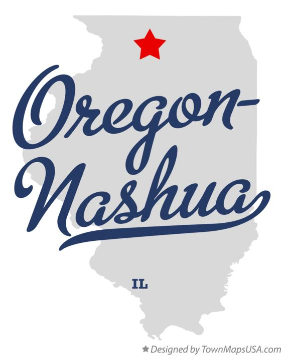 Map of Oregon-Nashua Illinois IL