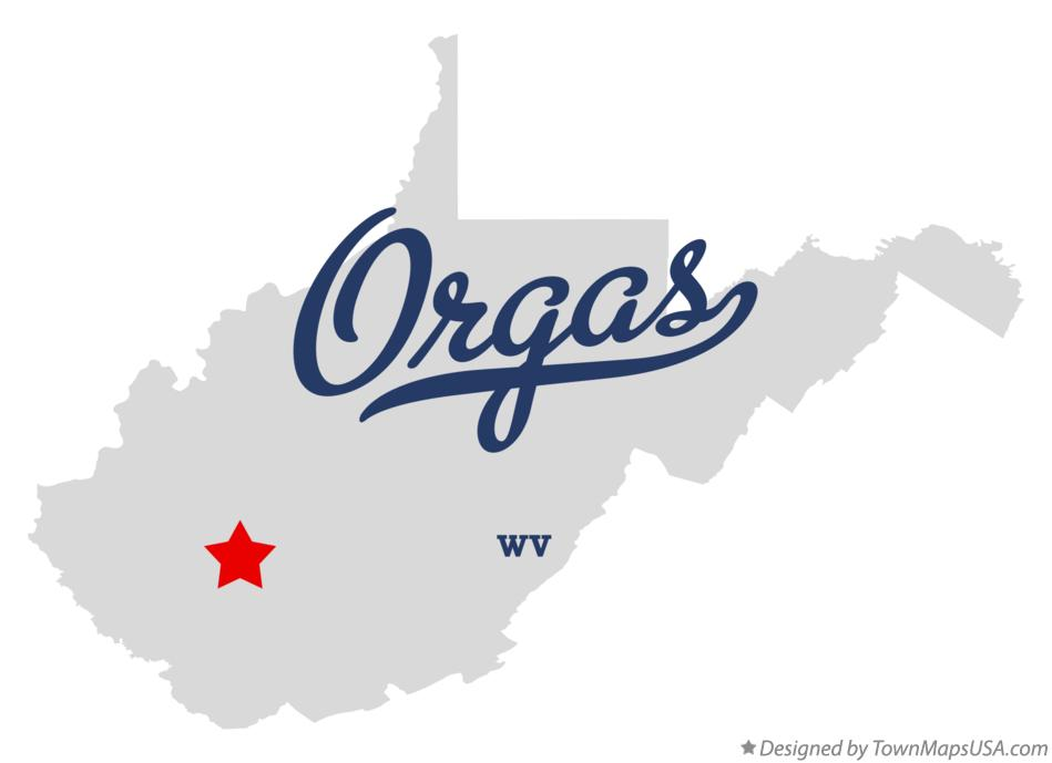 Map of Orgas West Virginia WV
