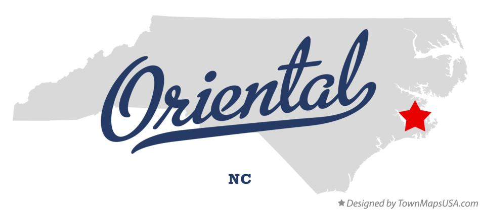 Map of Oriental North Carolina NC