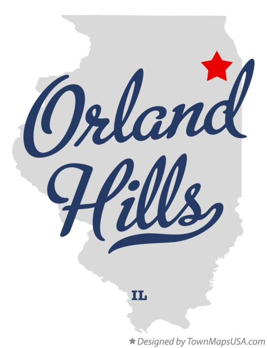 Map of Orland Hills Illinois IL
