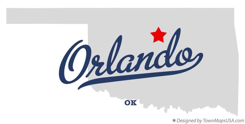 Map of Orlando Oklahoma OK
