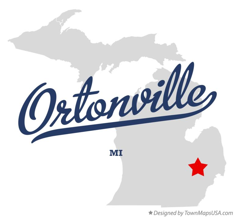 Map of Ortonville Michigan MI