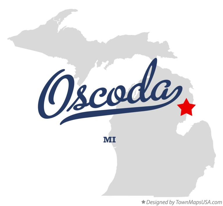 Map of Oscoda, MI, Michigan