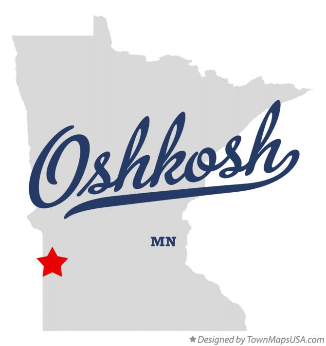 Map of Oshkosh Minnesota MN