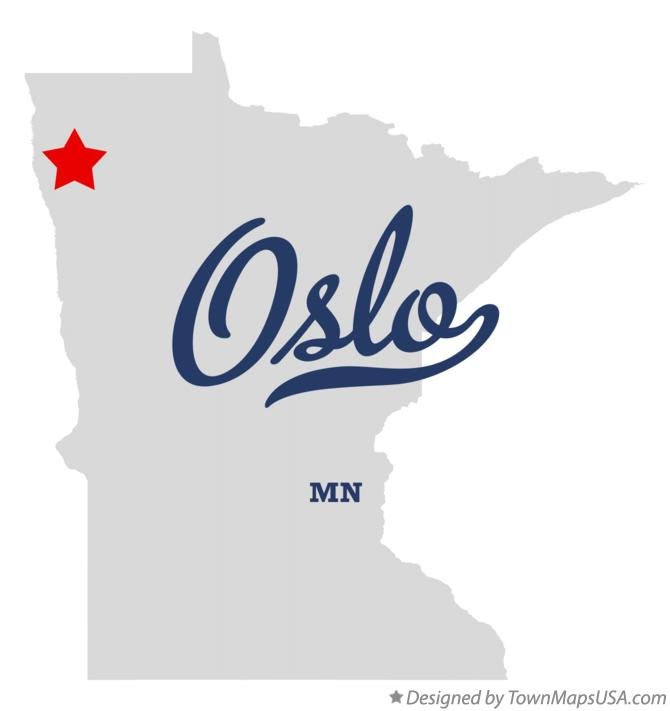 Map of Oslo Minnesota MN