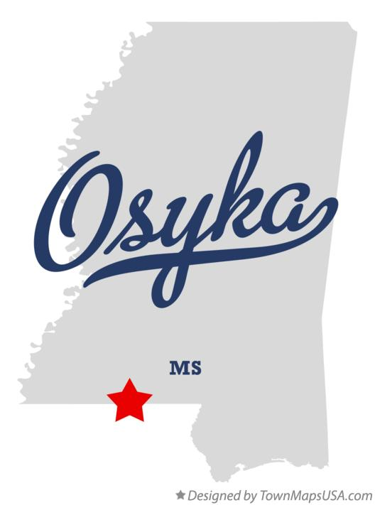 Map of Osyka Mississippi MS
