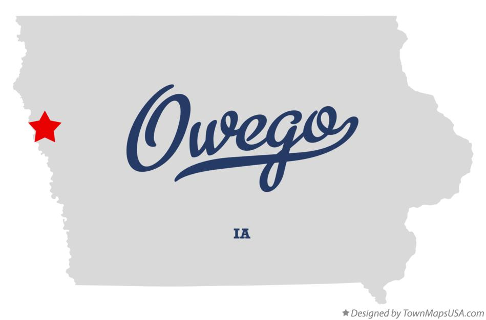 Map of Owego Iowa IA
